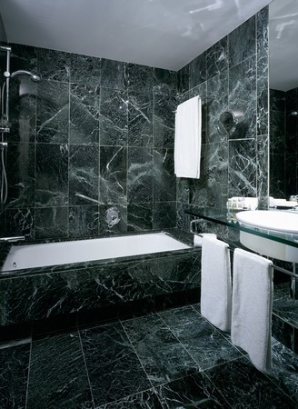 spanish tile: View of a tiled bathroom