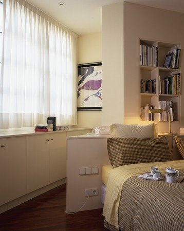 abodes: View of white curtains in a bedroom