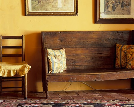mediterranean interior: View of a wooden bench