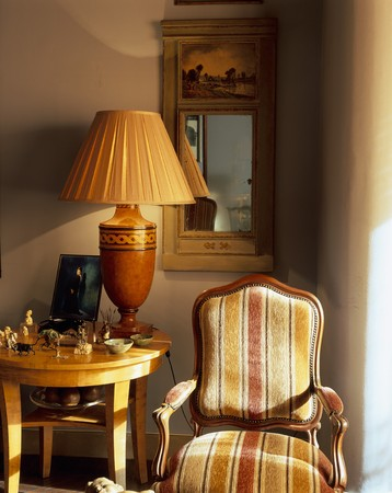 natural setting: View of a striped armchair