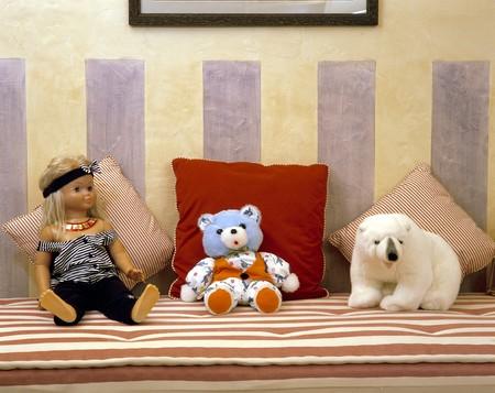 View of stuffed toys on a mattress Stock Photo - 7215213