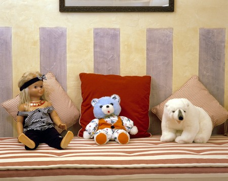 mediterranian homes: View of stuffed toys on a mattress