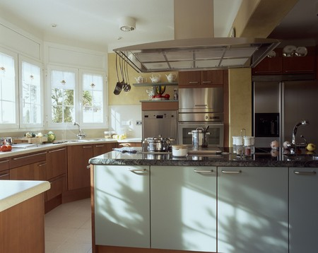 mediterranian home: Partial view of a set kitchen