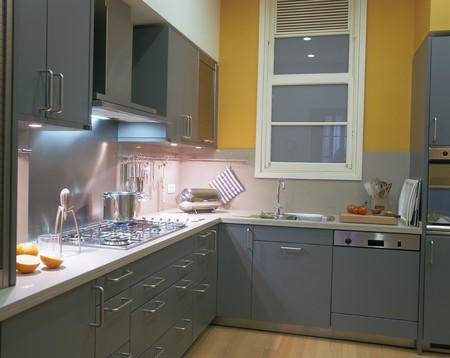 mediterranian homes: View of an illuminated kitchen