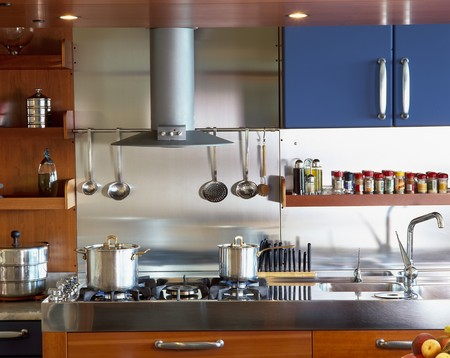 mediterranian: View of an elegant kitchen range