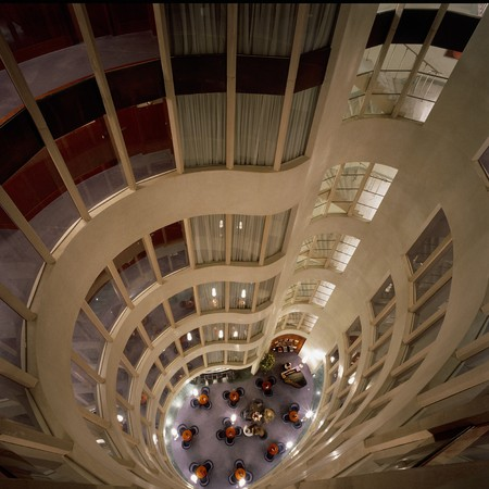 atrium: View of an atrium of a hotel