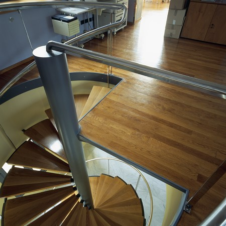 abodes: View of a wooden staircase