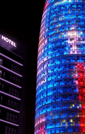 Night, partial view of Agbar Tower, Barcelona, Spain Stock Photo - 7223869