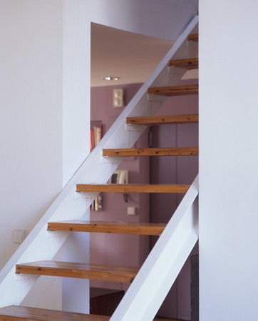 clave: View of a wooden staircase