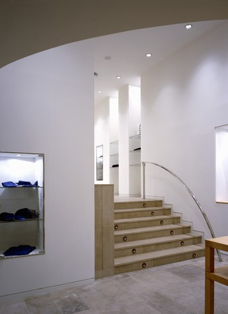 view of a staircase in a shop: View of a staircase in a shop