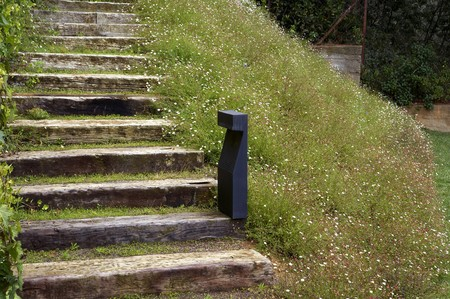 spanish steps: Wooden steps with grass and flowers