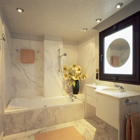mediterranean interior: View of an elegant bathroom