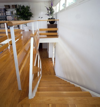 abodes: View of a wooden stairway