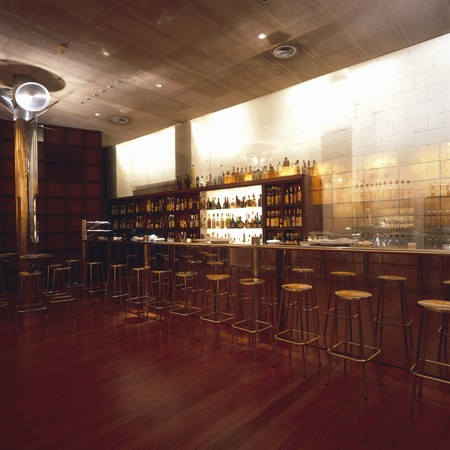 open floor plan: View of a well stocked bar