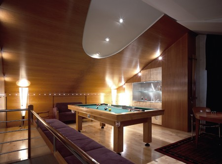 hardwood flooring: View of an illuminated games room