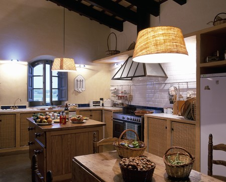 mediterranean home: View of a well equipped kitchen