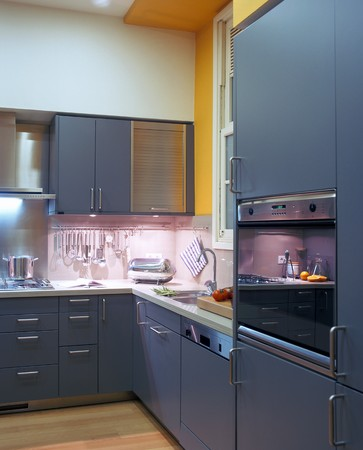 lit image: View of an illuminated kitchen