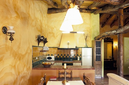 mediterranean interior: View of an illuminated kitchen