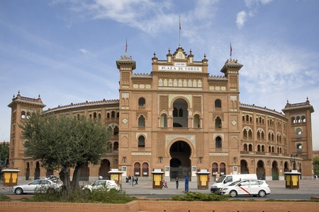 Facade of a bullring, Las Ventas Bullring, Madrid, Spain photo
