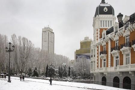 singular architecture: Winter scene in a city, Madrid, Spain