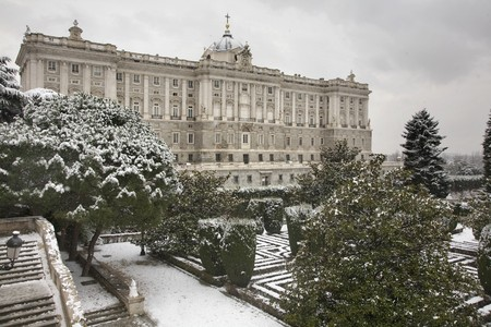 singular architecture: Garden in front of a palace, Palacio Real De Madrid, Royal Palace, Madrid, Spain Stock Photo