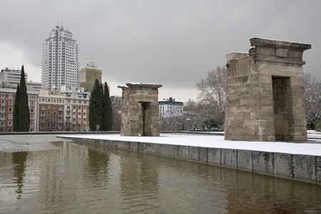 singular architecture: Ruins of a temple, Debod Temple, Madrid, Spain