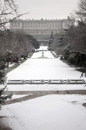 singular architecture: Facade of a palace, Royal Palace, Palacio Real, Madrid, Spain
