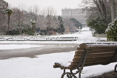 singular architecture: Garden in front of a palace, Madrid Royal Palace, Palacio Real, Madrid, Spain Stock Photo