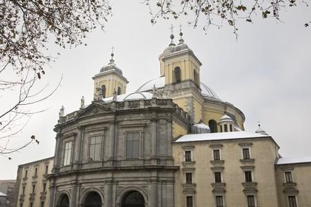 singular architecture: Low angle view of a Cathedral in a city, Almudena Cathedral, Catedral De La Almudena, Madrid, Spain