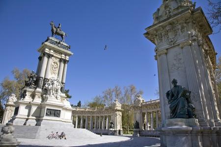 singular architecture: Monument in a park, Alfonso XII Monument, Monumento A Alfonso XII, Retiro Park, Parque Del Retiro, Madrid, Spain Stock Photo