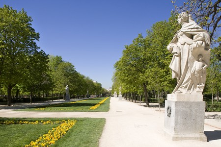 female likeness: Statue in a park, Parque Del Retiro, Retiro Park, Madrid, Spain