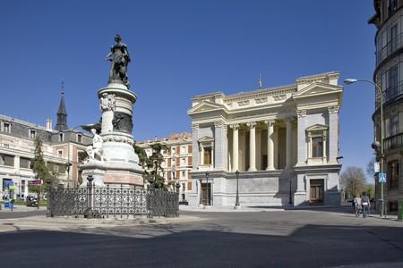 singular architecture: Statue at a town square, Cason del Buen Retiro, Madrid, Spain Stock Photo
