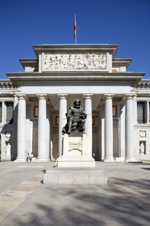 art museum: Statue in front of a museum, El Prado Museum, Museo Del Prado, Madrid, Spain Stock Photo