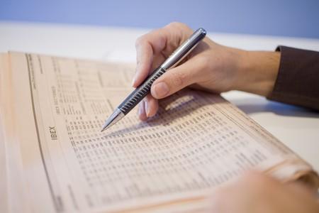 Businessman checking a stock market data, Madrid, Spain Stock Photo - 7353337