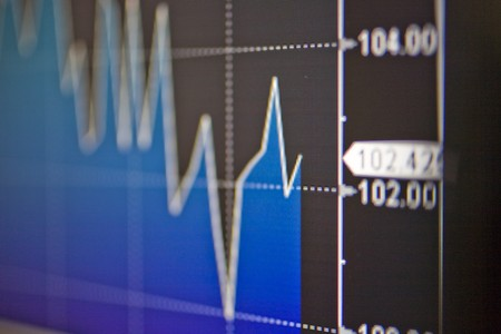 Financial graph being displayed on a computer monitor, Madrid, Spain