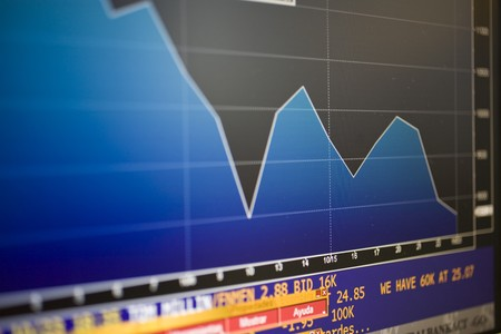Financial graph being displayed on a computer monitor, Madrid, Spain Stock Photo - 7353348