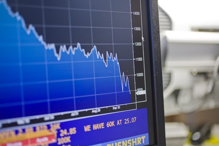 Financial graph being displayed on a computer monitor, Madrid, Spain Stock Photo - 7353346