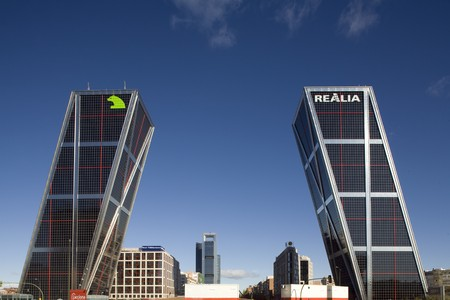 singular architecture: Low angle view of commercial buildings, Puerta De Europa, Plaza De Castilla, Madrid, Spain Stock Photo