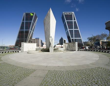 Monument in front of two skyscrapers, Calvo Sotelo Monument, Puerta De Europa, Plaza De Castilla, Madrid, Spain