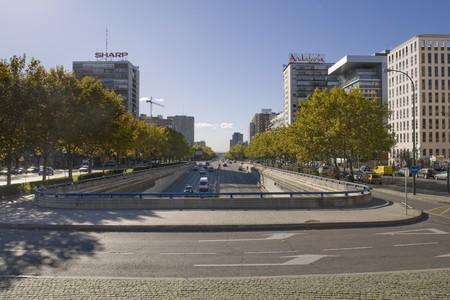 castellana: Buildings in a city, Paseo de la Castellana, Plaza De Castilla, Madrid, Spain