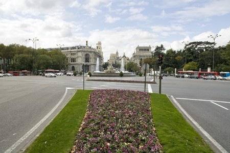 Buildings in a city, Plaza de Cibeles, Calle De Alcala,  Alcala Gate, Madrid, Spain photo