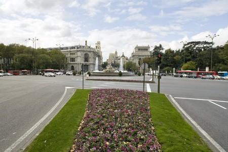 singular architecture: Buildings in a city, Plaza de Cibeles, Calle De Alcala,  Alcala Gate, Madrid, Spain