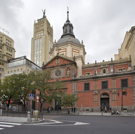 singular architecture: Church along a road,St. Joseph Church, Iglesia De San Jose,  Calle De Alcala, Madrid, Spain Stock Photo