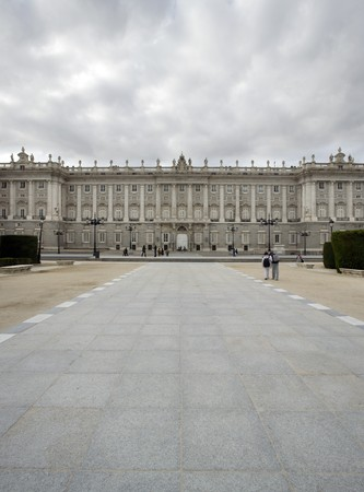 singular architecture: Facade of a government building, Palacio Real, Royal Palace, Madrid, Spain