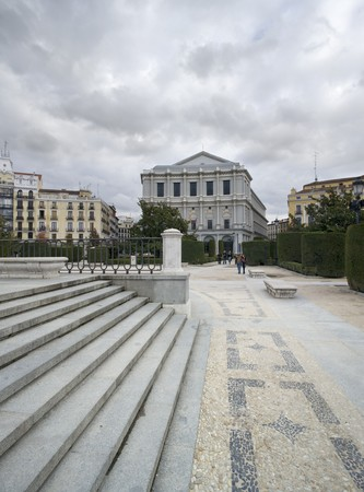 singular architecture: Buildings in a city, Teatro Real, Royal Palace, Opera, Plaza de Oriente, Madrid, Spain Stock Photo