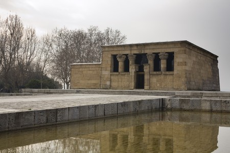 singular architecture: Reflection of a temple in water, Temple Of Debod, Templo De Debod, Ancient Egypt Temple, Madrid, Spain