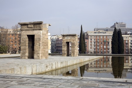 singular architecture: Temple in a city, Temple Of Debod, Templo De Debod, Ancient Egypt Temple, Madrid, Spain