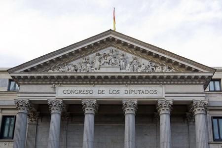 singular architecture: Facade of a parliament building, Congreso De Los Diputados, Madrid, Spain