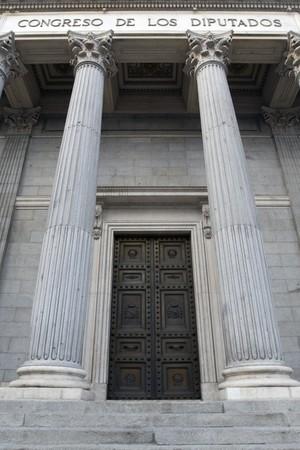 singular architecture: Column of a parliament building, Congreso De Los Diputados, Madrid, Spain