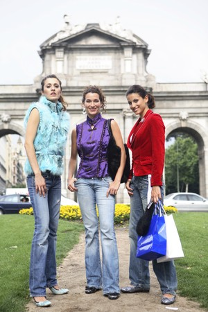Three young latin women at Madrid, Spain photo